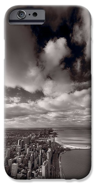 Lake Shore Drive iPhone Cases - Chicago Aloft BW iPhone Case by Steve Gadomski