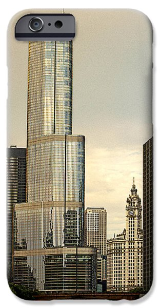 Wrigley Digital Art iPhone Cases - Chicago Architecture Old and New iPhone Case by Julie Palencia