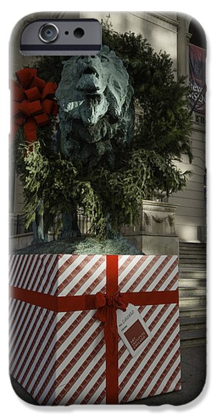 Photography Photographs iPhone Cases - Chicago Art Institute Lion iPhone Case by Sebastian Musial