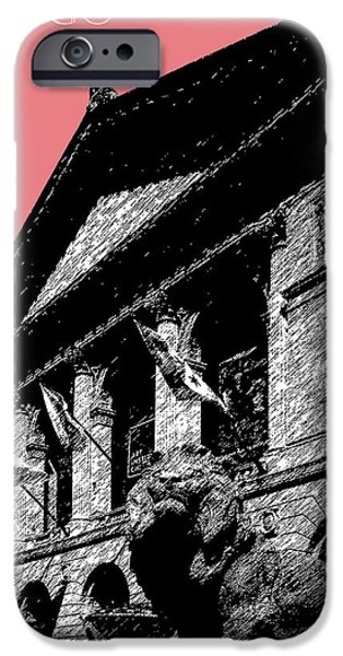 Pen And Ink Digital Art iPhone Cases - Chicago Art Institute of Chicago - Light Red iPhone Case by DB Artist