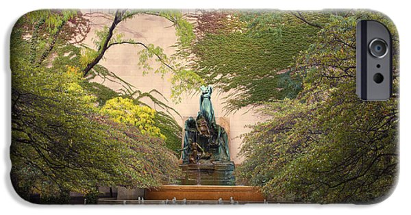 Chicago iPhone Cases - Chicago Art Institute The Fountain iPhone Case by Thomas Woolworth