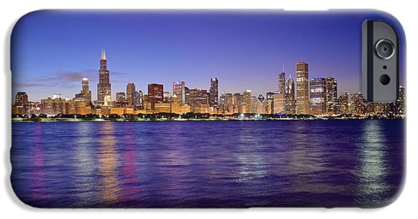 Chicago Cubs iPhone Cases - Chicago at Dusk iPhone Case by Frozen in Time Fine Art Photography