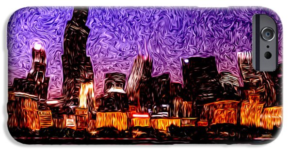 Willis Tower iPhone Cases - Chicago at Night Digital Art iPhone Case by Paul Velgos