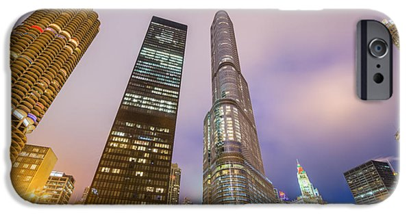 Wrigley iPhone Cases - Chicago at Night iPhone Case by Jess Kraft