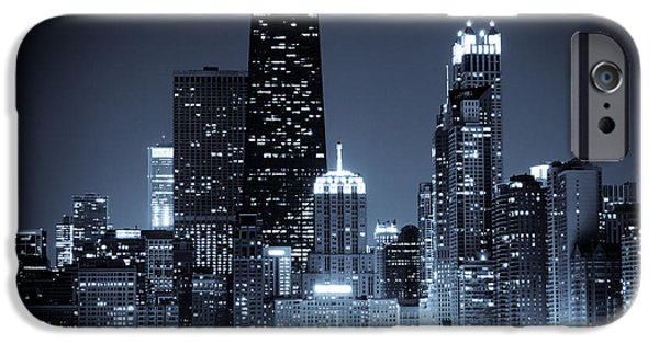 Hancock Building iPhone Cases - Chicago at Night with Hancock Building iPhone Case by Paul Velgos