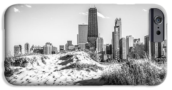 Hancock Building iPhone Cases - Chicago Beach and Skyline Black and White Photo iPhone Case by Paul Velgos