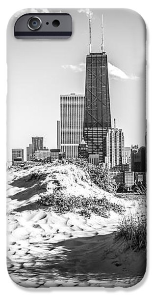 Chicago Beach and Skyline Black and White Photo iPhone Case by Paul Velgos
