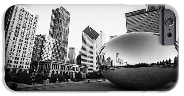 Chicago iPhone Cases - Chicago Bean and Chicago Skyline in Black and White iPhone Case by Paul Velgos
