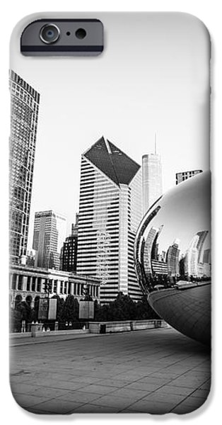 Chicago Bean and Chicago Skyline in Black and White iPhone Case by Paul Velgos
