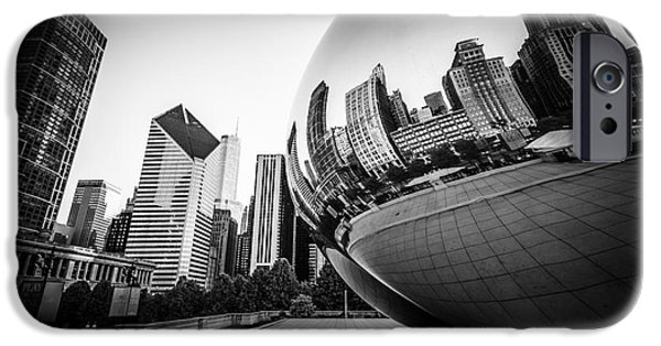 Chicago iPhone Cases - Chicago Bean Cloud Gate in Black and White iPhone Case by Paul Velgos