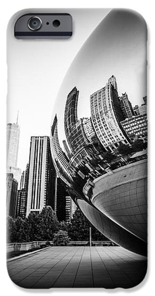 Chicago Bean Cloud Gate in Black and White iPhone Case by Paul Velgos