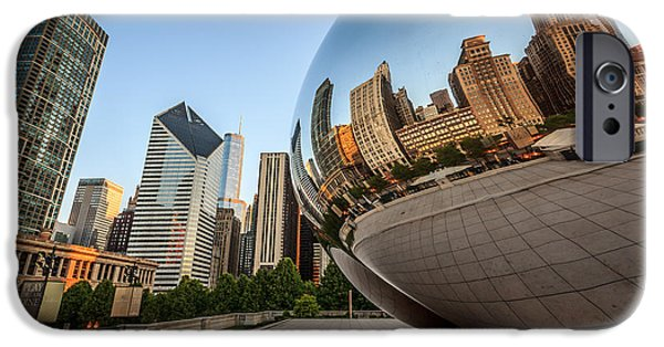 Editorial iPhone Cases - Chicago Bean Cloud Gate Sculpture Reflection iPhone Case by Paul Velgos
