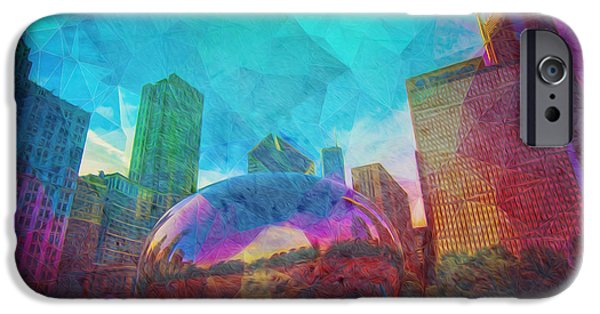 Recently Sold -  - Baseball Stadiums iPhone Cases - Chicago Bean Skyline Illinois Digital Paint iPhone Case by David Haskett