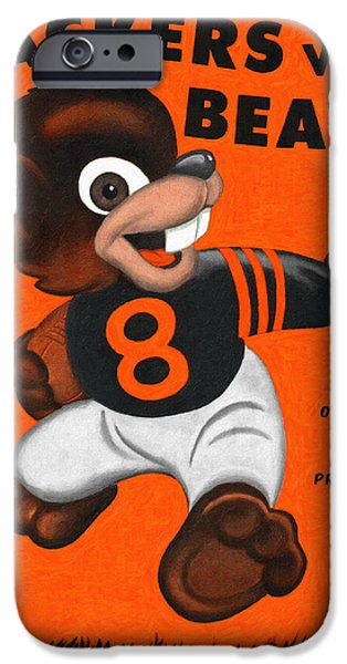 Wrigley Paintings iPhone Cases - Chicago Bears 1947 Vintage Program iPhone Case by Big 88 Artworks