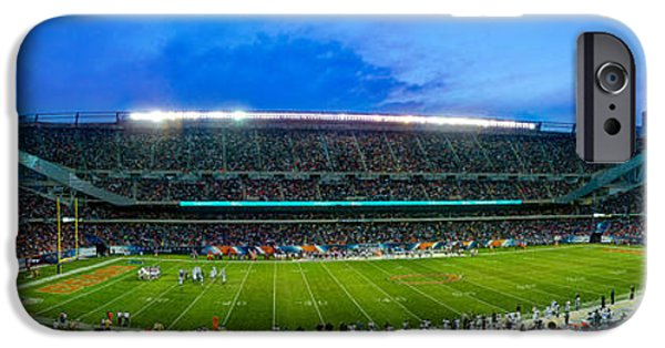 Soldier Field Photographs iPhone Cases - Chicago Bears At Soldier Field iPhone Case by Steve Gadomski