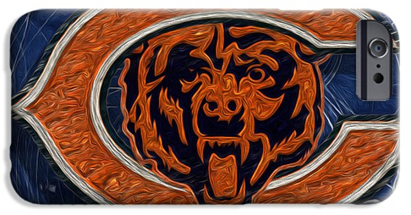 Soldier Field Digital Art iPhone Cases - Chicago Bears iPhone Case by Jack Zulli