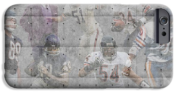 Christmas Greeting iPhone Cases - Chicago Bears Legends iPhone Case by Joe Hamilton