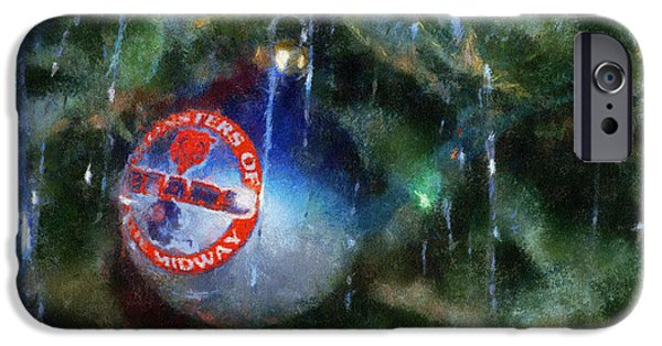 Soldier Field iPhone Cases - Chicago Bears Xmas Ornament Photo Art 01 iPhone Case by Thomas Woolworth