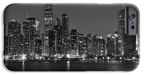 Wrigley Field iPhone Cases - Chicago Black and White Panoramic iPhone Case by Frozen in Time Fine Art Photography