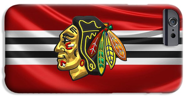 Hockey Art iPhone Cases - Chicago Blackhawks - 3D Badge over Silk Flag iPhone Case by Serge Averbukh