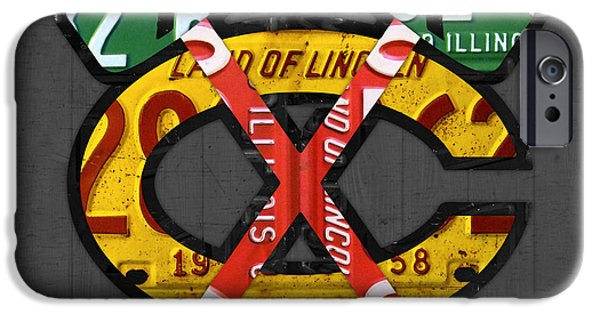 Chicago iPhone Cases - Chicago Blackhawks Hockey Team Retro Logo Vintage Recycled Illinois License Plate Art iPhone Case by Design Turnpike