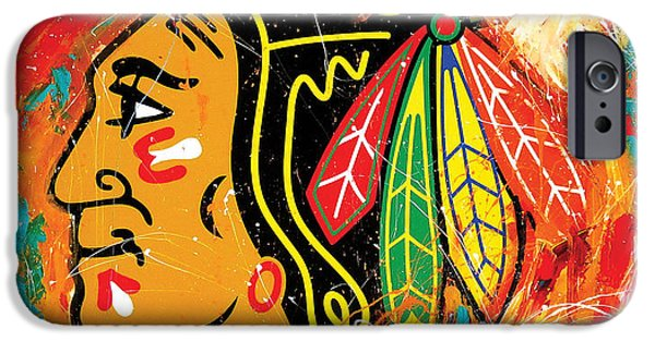 Sport Paintings iPhone Cases - Chicago Blackhawks logo iPhone Case by Elliott From