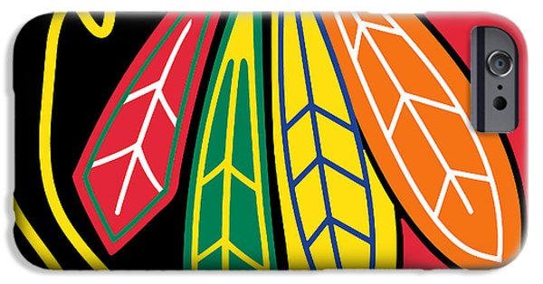 Home Paintings iPhone Cases - Chicago Blackhawks iPhone Case by Tony Rubino