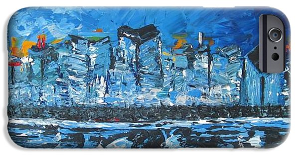 Chicago Paintings iPhone Cases - Chicago Blue iPhone Case by Kowie Theron