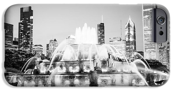 Chicago iPhone Cases - Chicago Buckingham Fountain Black and White Picture iPhone Case by Paul Velgos
