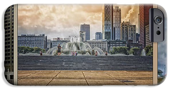 Wrigley iPhone Cases - Chicago Buckingham Wrigley Navy Pier Triptych 3 Panel HDR iPhone Case by Thomas Woolworth