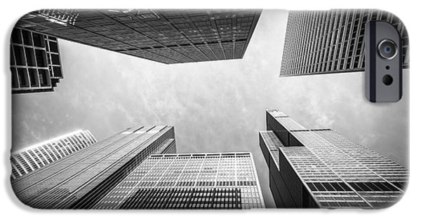 Sears Tower iPhone Cases - Chicago Buildings Upward in Black and White iPhone Case by Paul Velgos