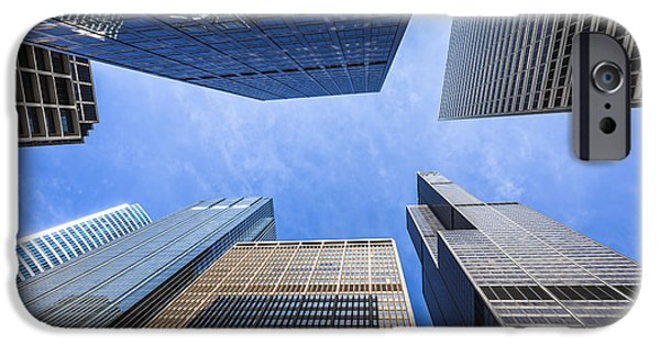 Sears Tower iPhone Cases - Chicago Buildings Upward View with Willis-Sears Tower iPhone Case by Paul Velgos
