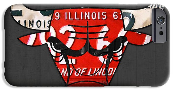 Chicago iPhone Cases - Chicago Bulls Basketball Team Retro Logo Vintage Recycled Illinois License Plate Art iPhone Case by Design Turnpike