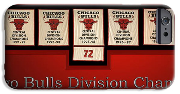 Jordan iPhone Cases - Chicago Bulls Division Champions Banners iPhone Case by Thomas Woolworth