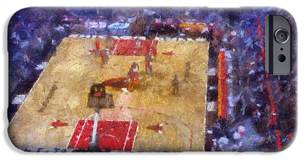 Red Abstract iPhone Cases - Chicago Bulls Game Day Photo Art 02 iPhone Case by Thomas Woolworth