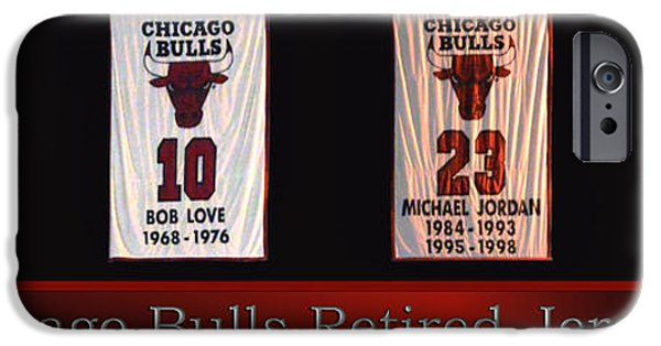 Chicago Bulls Mixed Media iPhone Cases - Chicago Bulls Retired Jerseys Banners iPhone Case by Thomas Woolworth