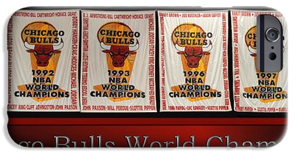 Chicago Bulls Mixed Media iPhone Cases - Chicago Bulls World Champions Banners iPhone Case by Thomas Woolworth