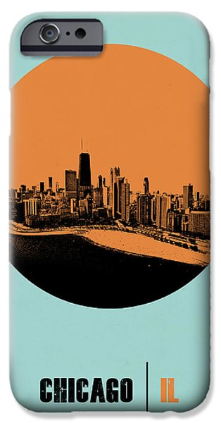 Sears Tower iPhone Cases - Chicago Circle Poster 2 iPhone Case by Naxart Studio