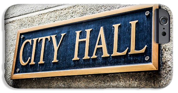 Municipal iPhone Cases - Chicago City Hall Sign iPhone Case by Paul Velgos