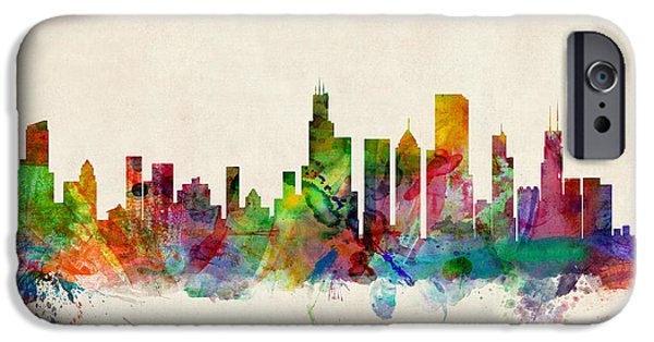 States Digital iPhone Cases - Chicago City Skyline iPhone Case by Michael Tompsett