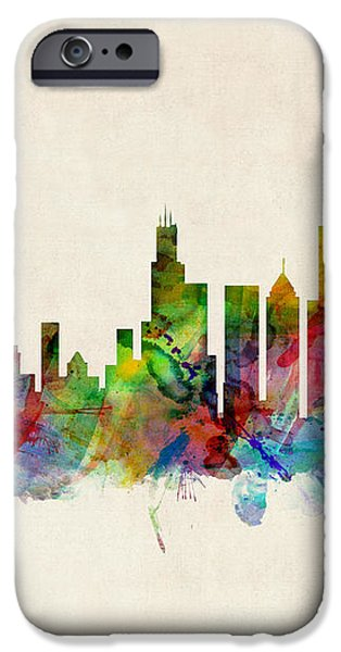 Chicago City Skyline iPhone Case by Michael Tompsett