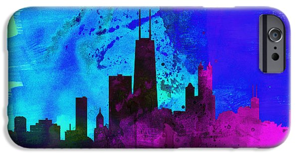 Horizon Paintings iPhone Cases - Chicago City Skyline iPhone Case by Naxart Studio
