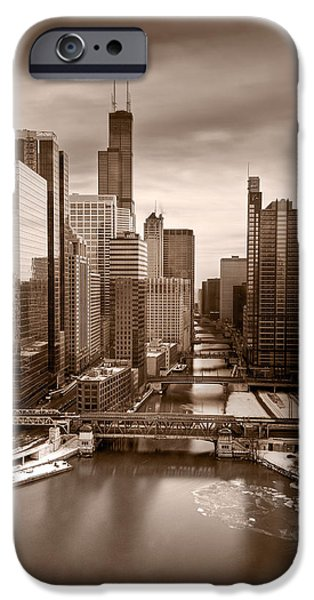 Sears Tower iPhone Cases - Chicago City View Afternoon B and W iPhone Case by Steve Gadomski