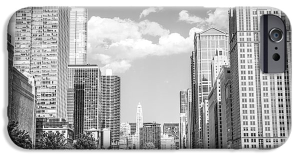 Merchandise iPhone Cases - Chicago Cityscape Black and White Picture iPhone Case by Paul Velgos