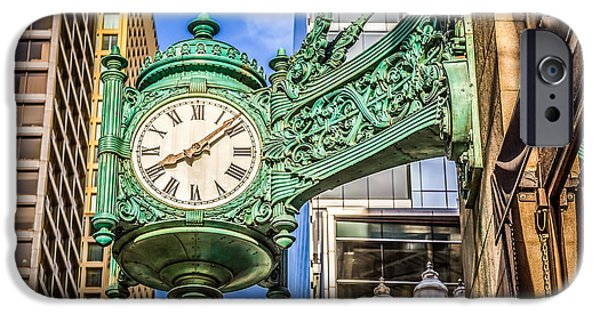 Macy iPhone Cases - Chicago Clock HDR Photo iPhone Case by Paul Velgos