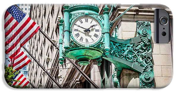 Editorial iPhone Cases - Chicago Clock on Macys Marshall Fields Building iPhone Case by Paul Velgos