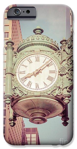 Macy iPhone Cases - Chicago Clock Retro Photo iPhone Case by Paul Velgos