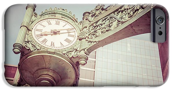 Macy iPhone Cases - Chicago Clock Vintage Photo iPhone Case by Paul Velgos