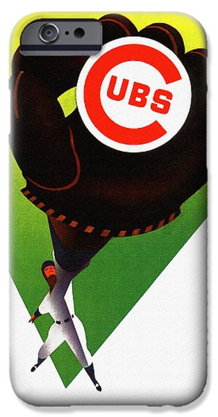 Wrigley Paintings iPhone Cases - Chicago Cubs 1958 Program iPhone Case by Big 88 Artworks