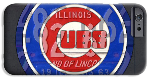 Chicago iPhone Cases - Chicago Cubs Baseball Team Retro Vintage Logo License Plate Art iPhone Case by Design Turnpike